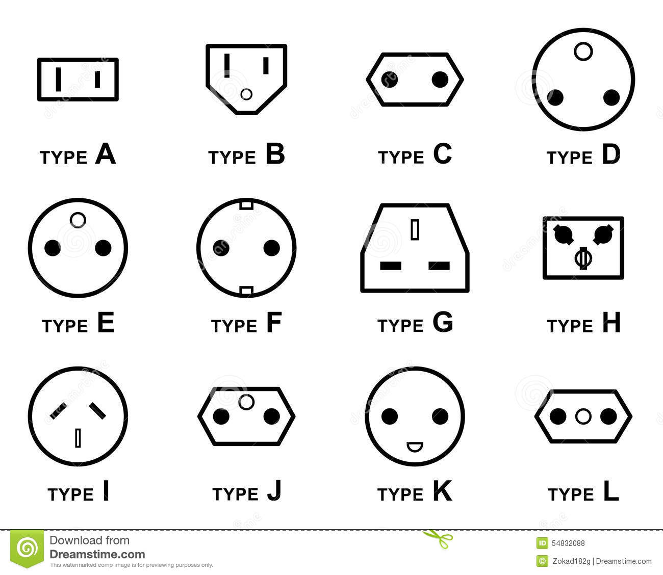 Electrical Plug Types Stock Vector