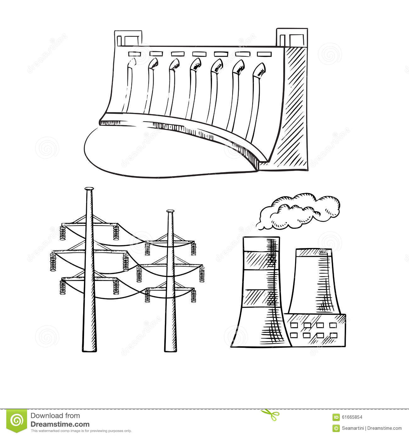 Electrical Power Plants And Towers Sketch Icons Stock