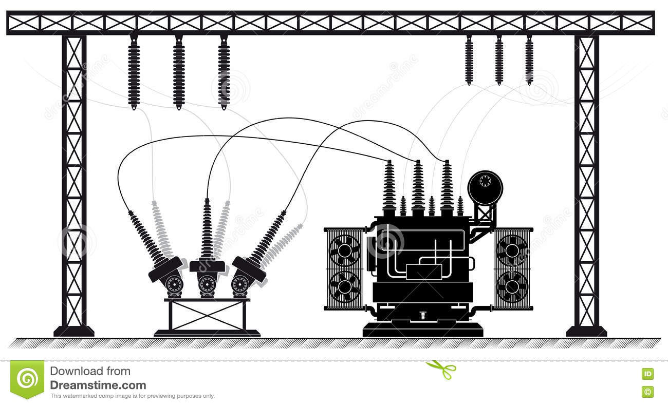 Electrical Substation The High Voltage Transformer And