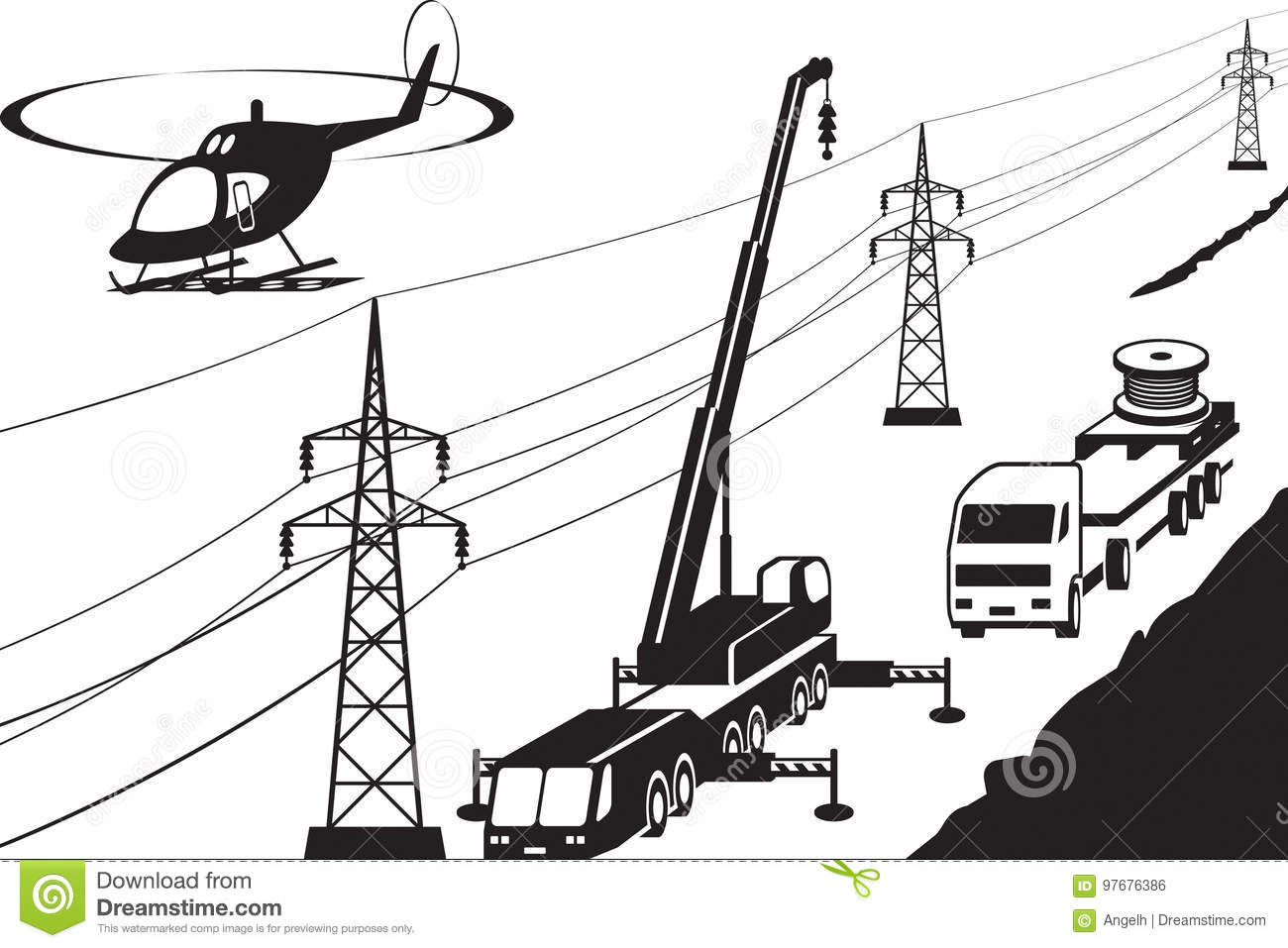 Electrical Transmission Line Maintenance Stock Vector