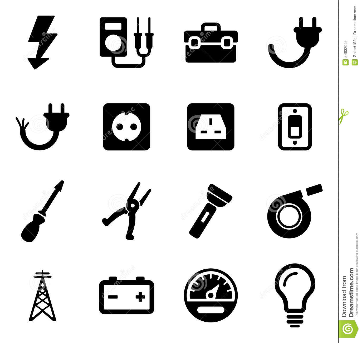 Electrician Icons Stock Vector Illustration Of Design