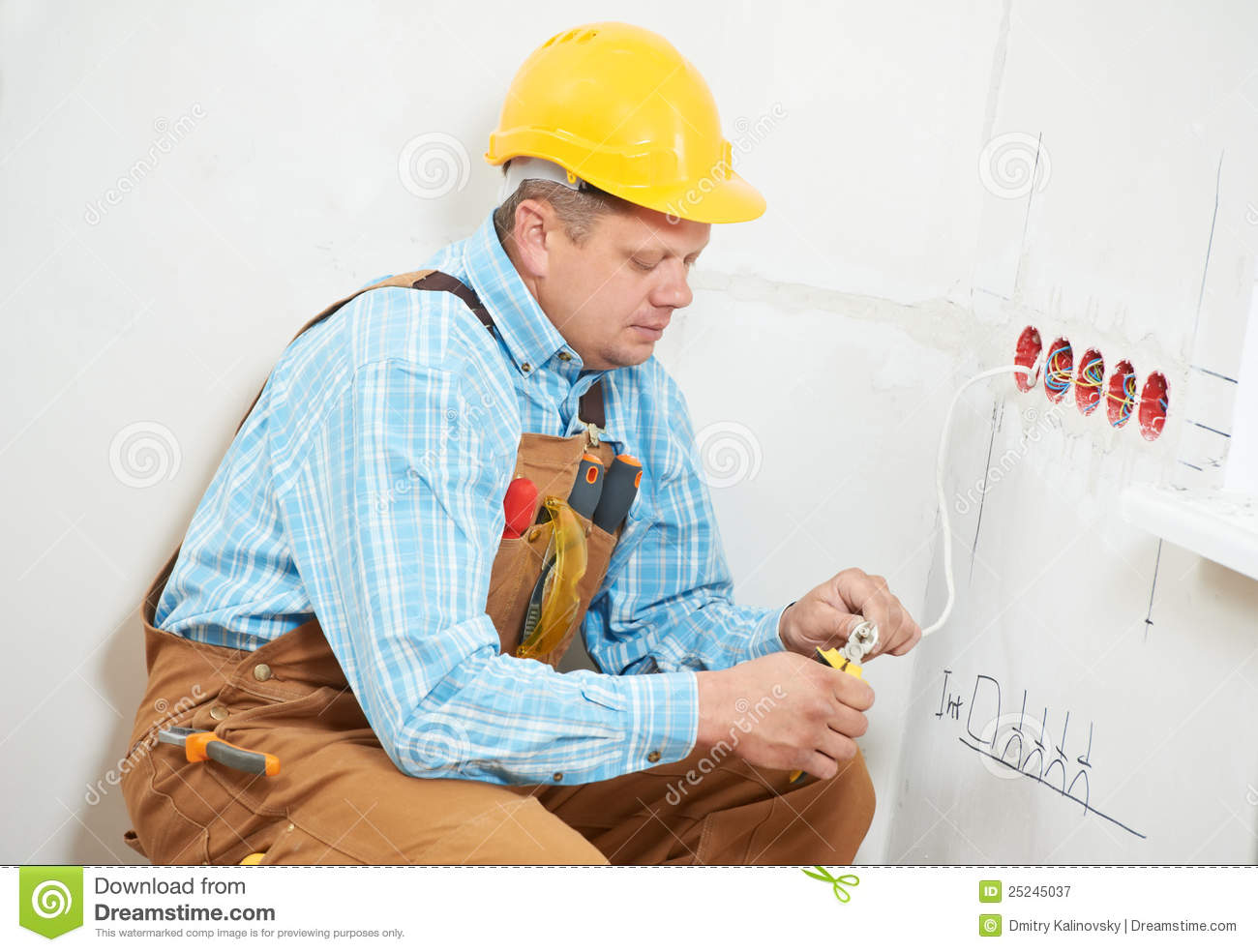 Electricians At Cable Wiring Work Stock Image