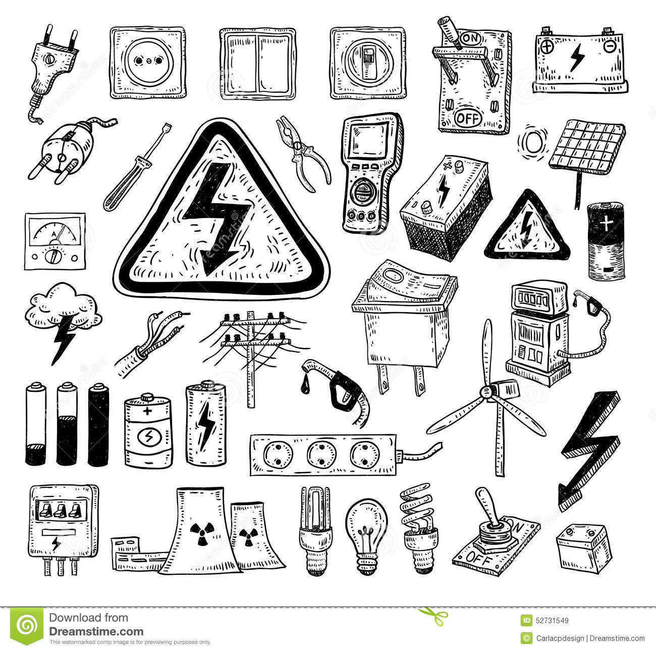 Electricity Doodle Icon Collection Vector Illustration