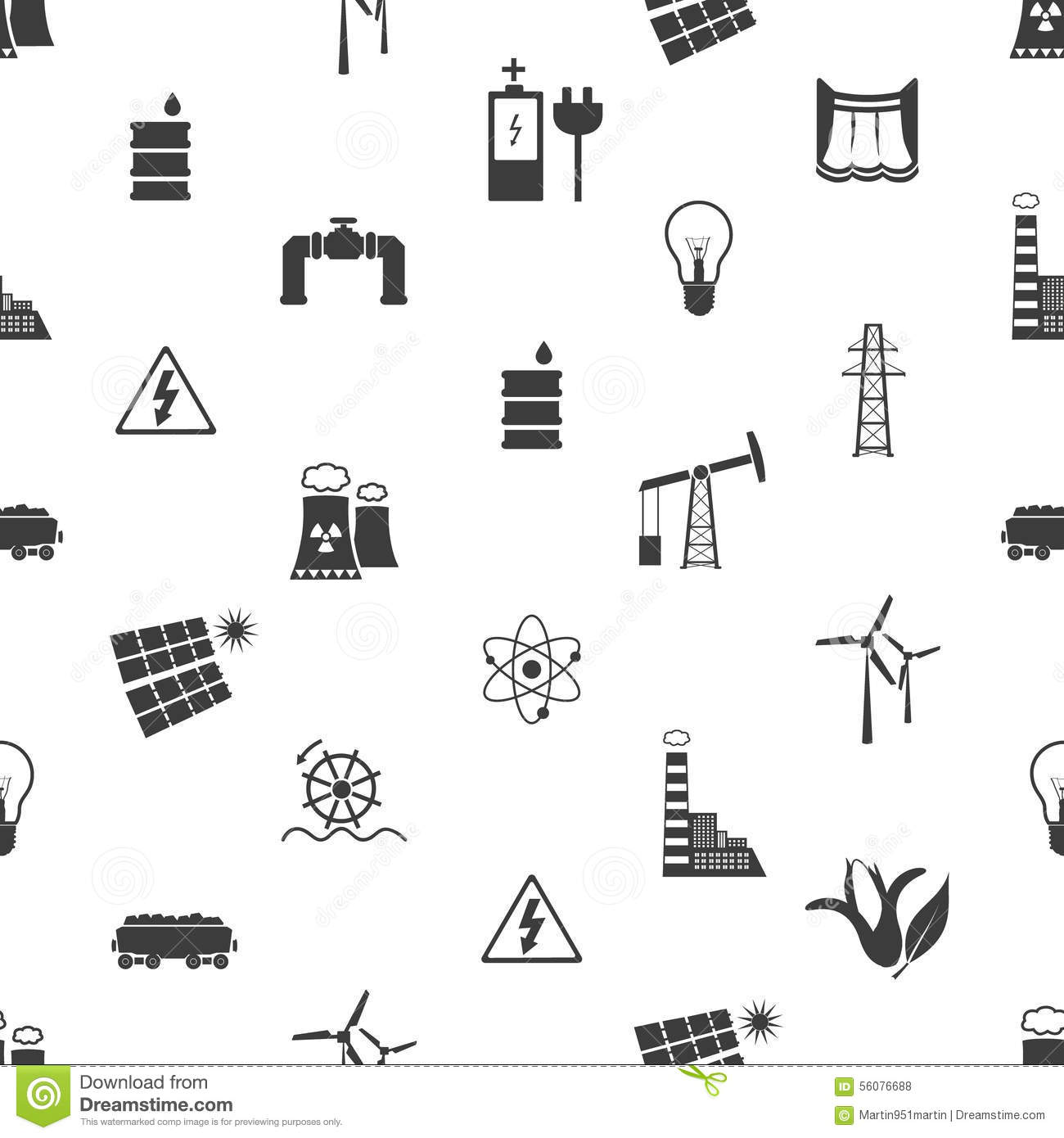 Electricity And Energy Icons And Symbol Seamless Pattern