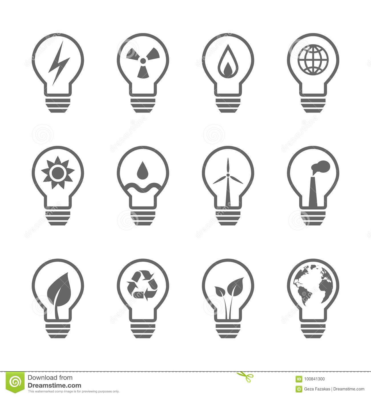 Energy And Ecology Icon Set Vector Eps10 Cartoon Vector