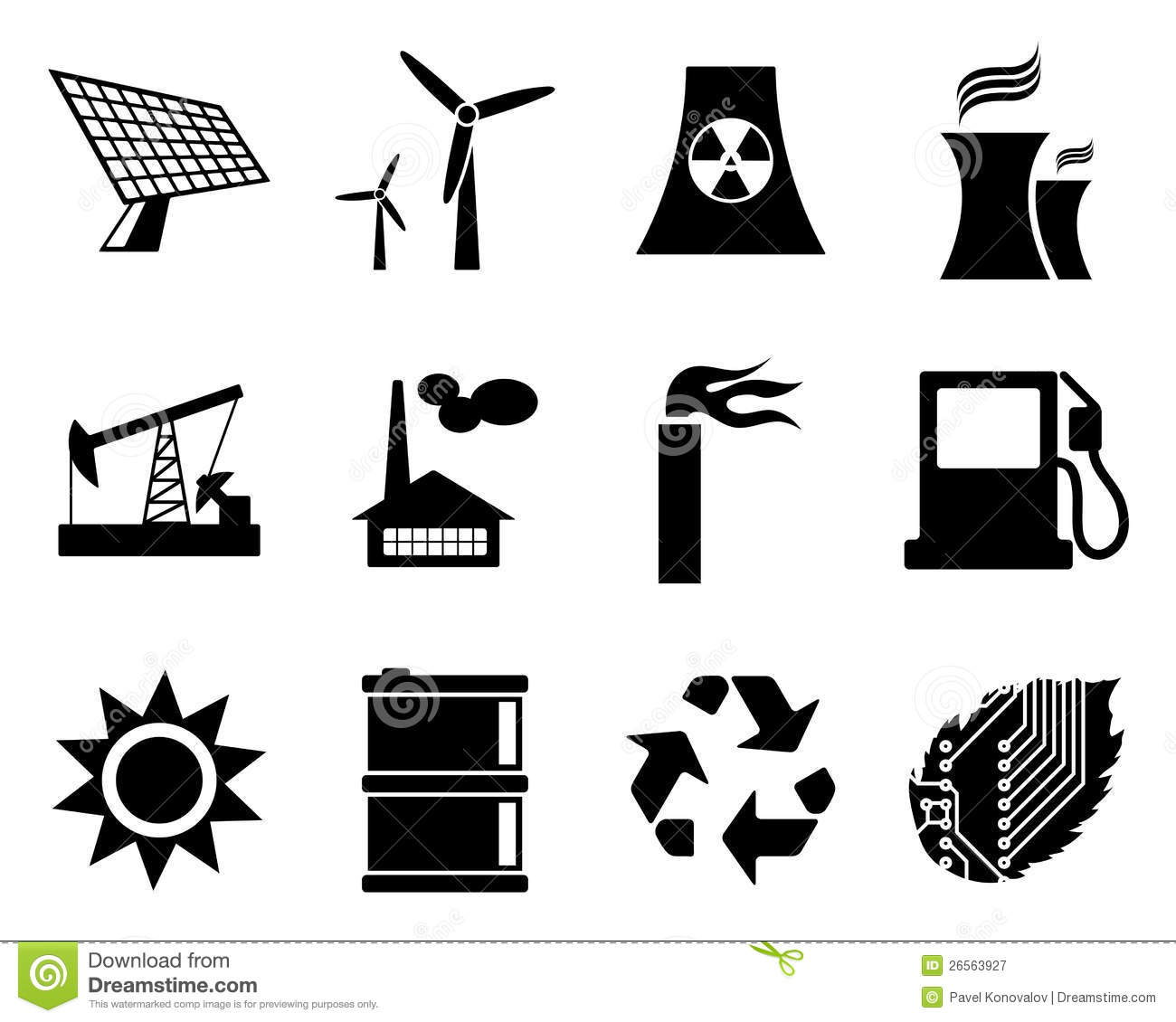Electricity Power And Energy Icon Set Royalty Free Stock