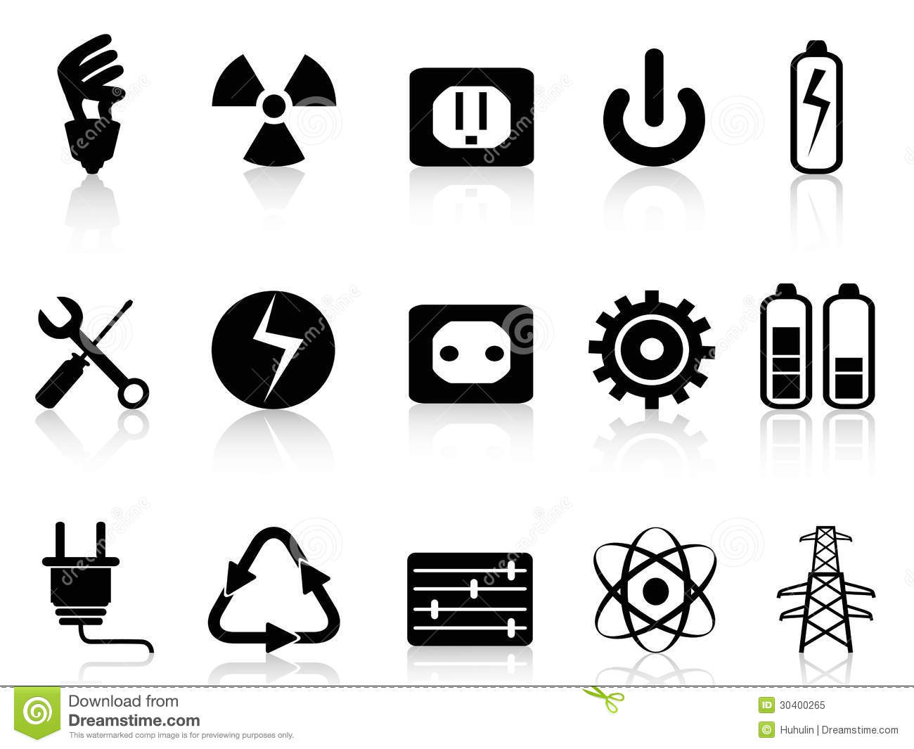 Electricity And Power Icons Set Stock Vector