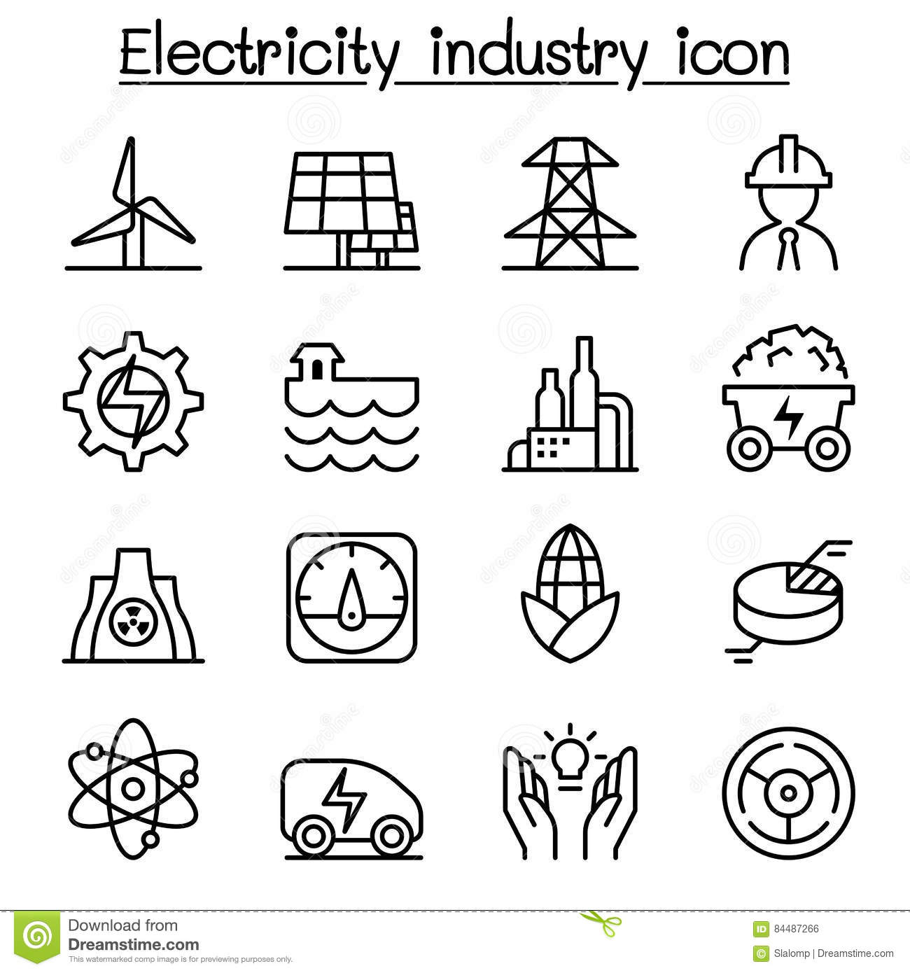 Electricity Amp Power Industry Icon In Thin Line Style Stock