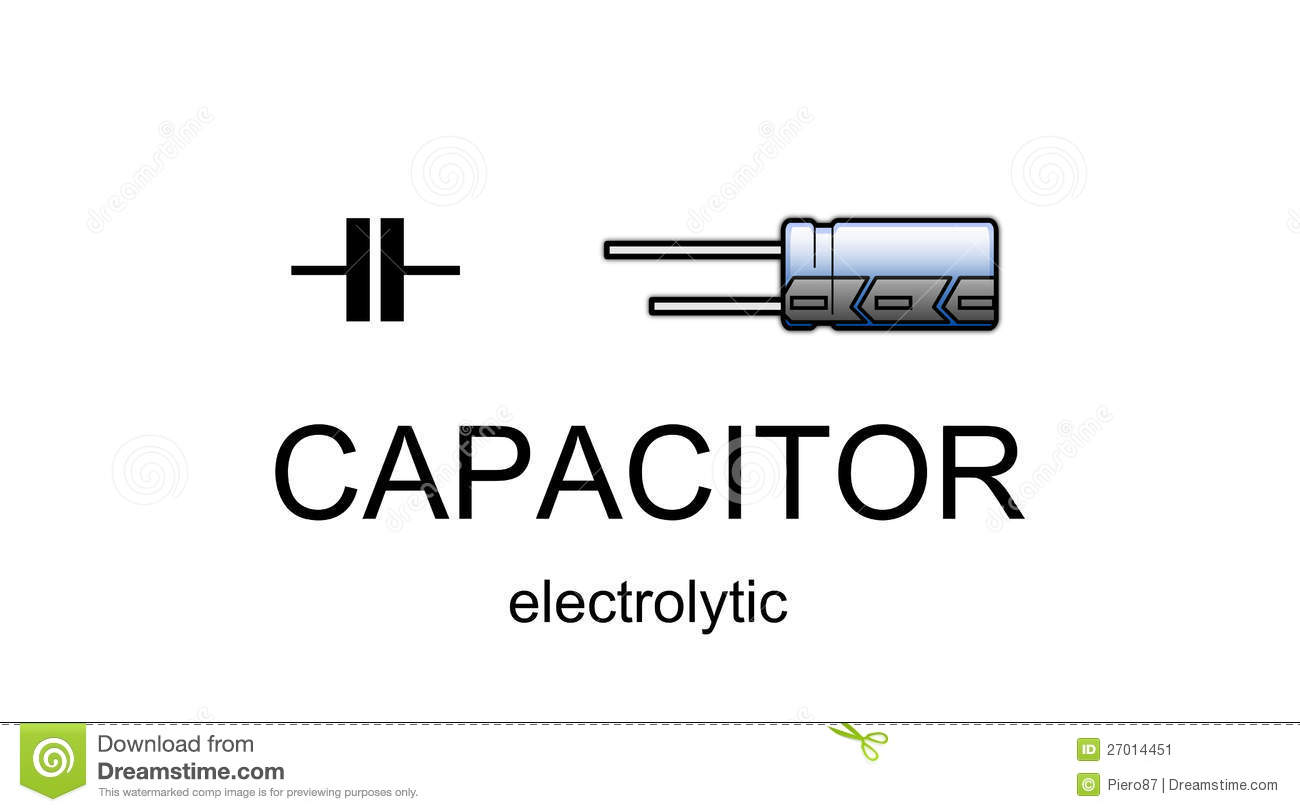 Electrolytic Capacitor Icon And Symbol Stock Illustration