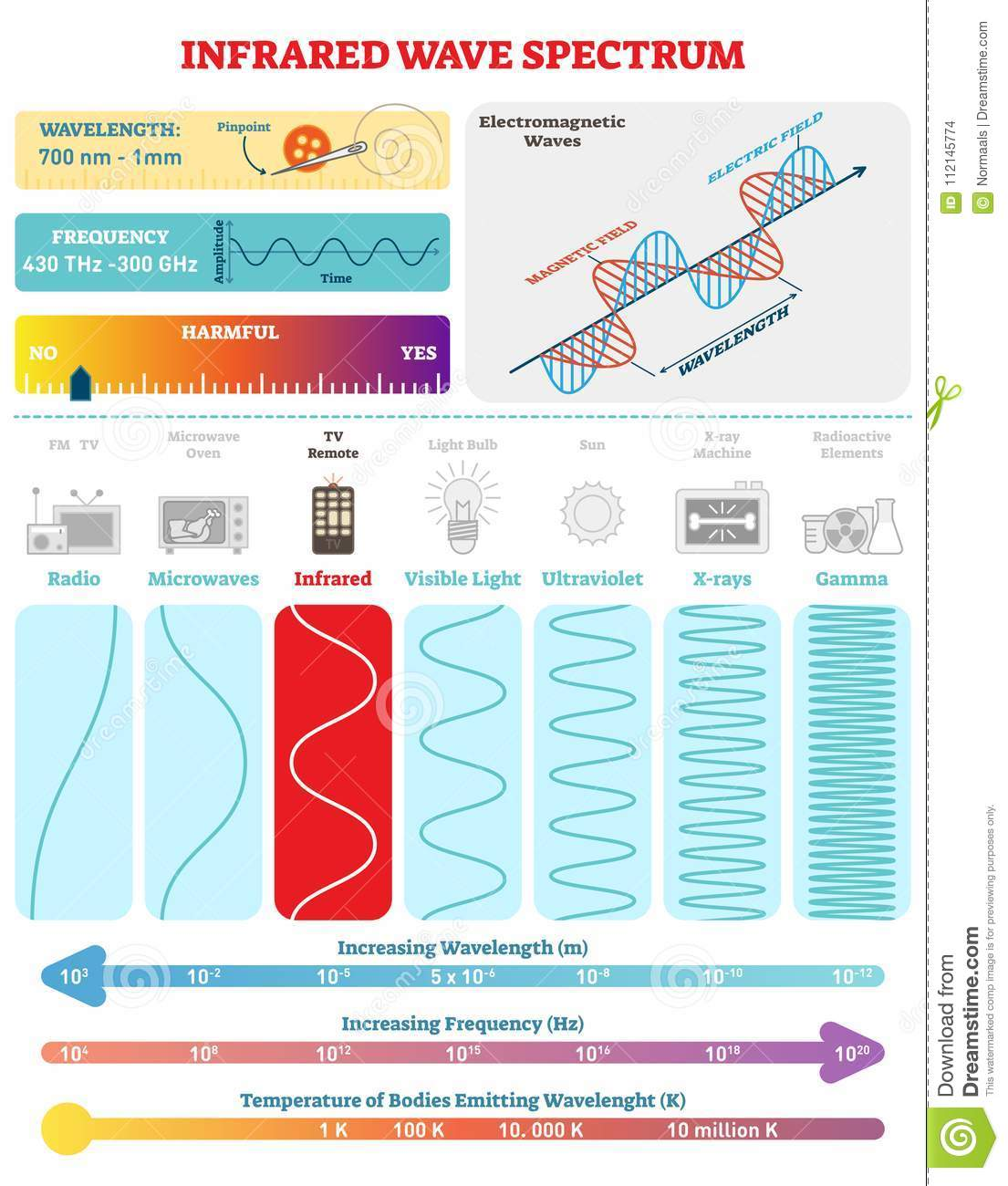 Electromagnetic Waves Infrared Spectrum Vector