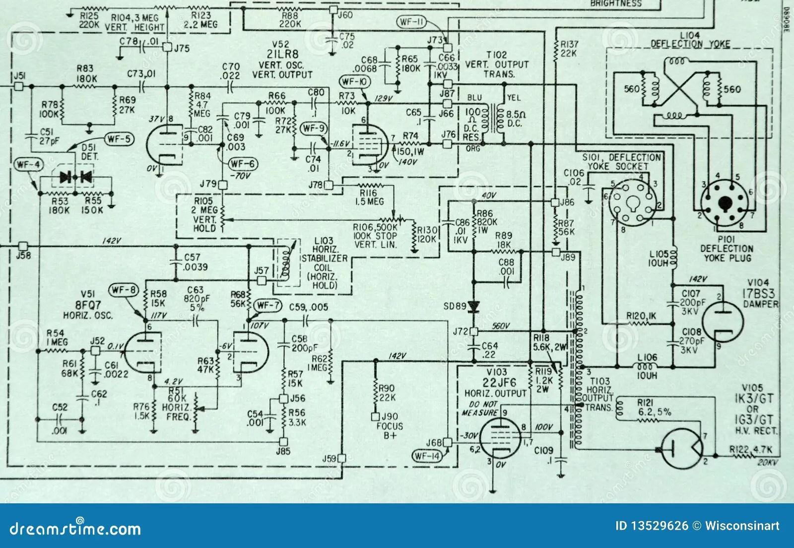 Electronic Circuit Schematic Detail Diagram Stock Photo
