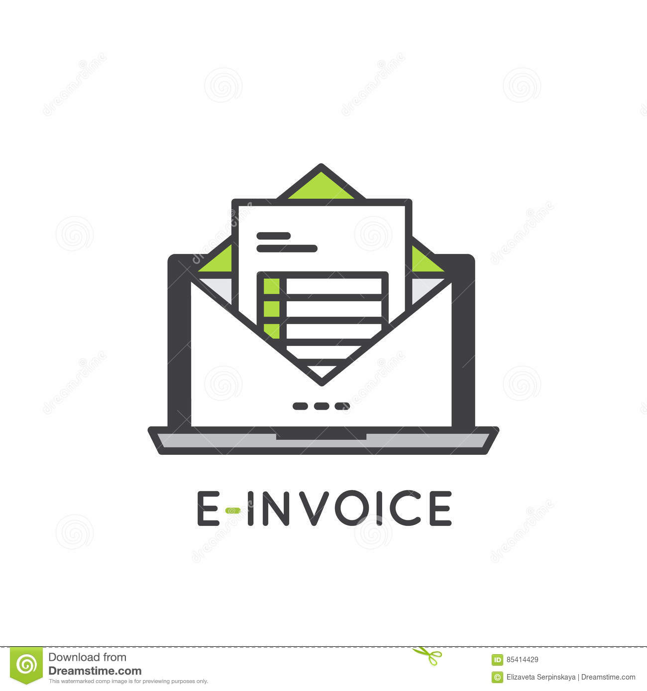 Electronic E Invoice Mail Paper Inbox Stock Illustration