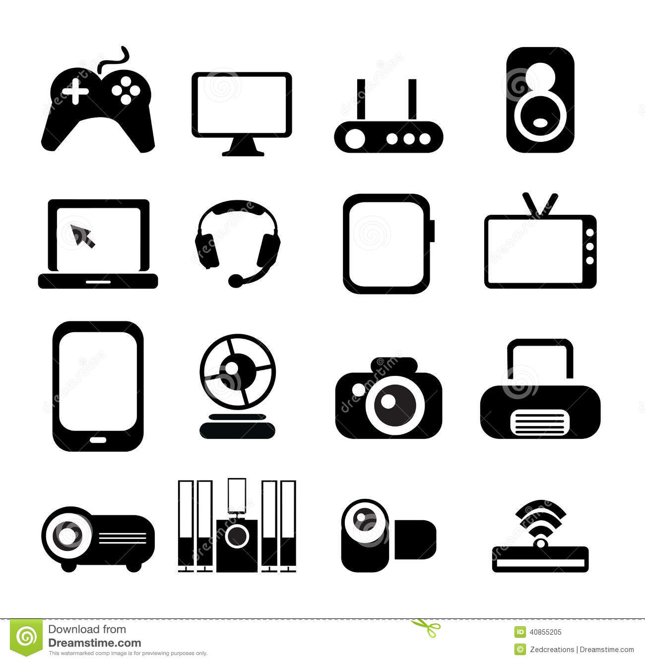 Electronic Icon Set Stock Vector Illustration Of Global