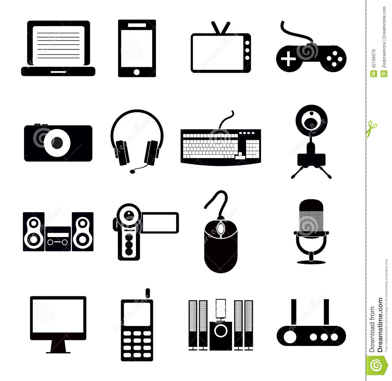 Electronic Icon Set Stock Vector Illustration Of Icons