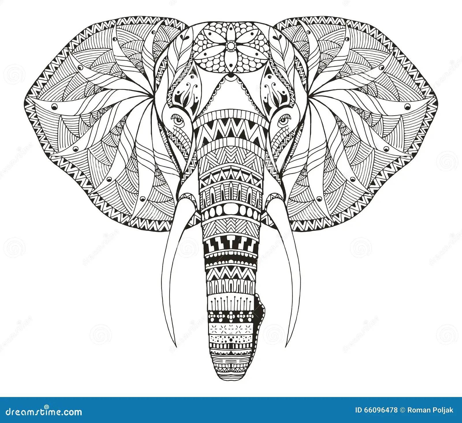 Elefant Haupt Zentangle Stilisierte Vector Illustration