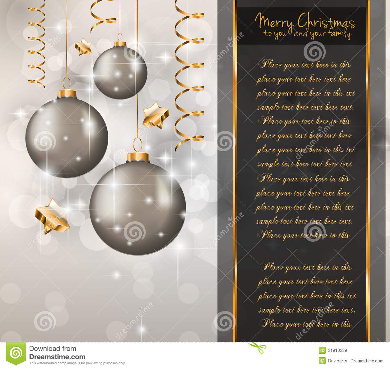 Elegant Classic Christmas Greetings Stock Vector Image