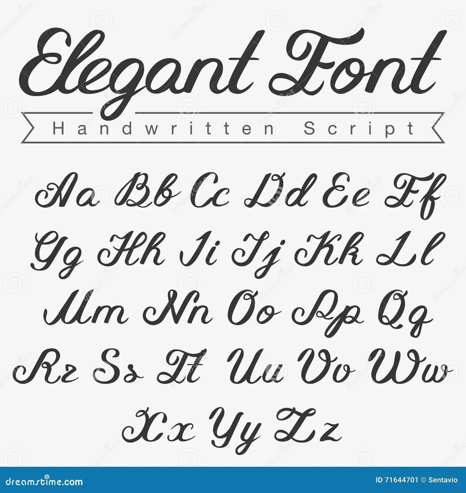 Elegant Handwritten Calligraphy Script Font Design Stock Illustration