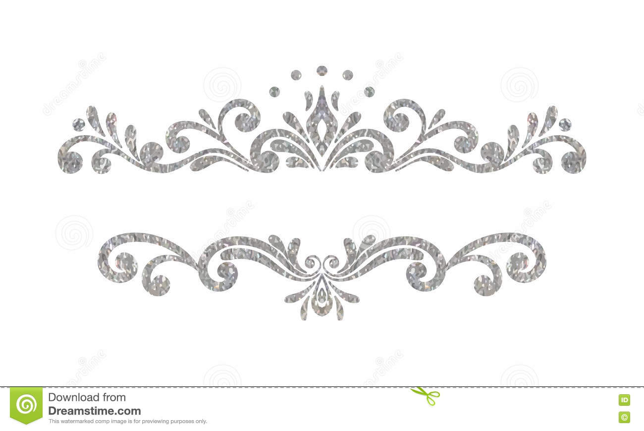 Elegant Luxury Vintage Silver Floral Border Stock Vector
