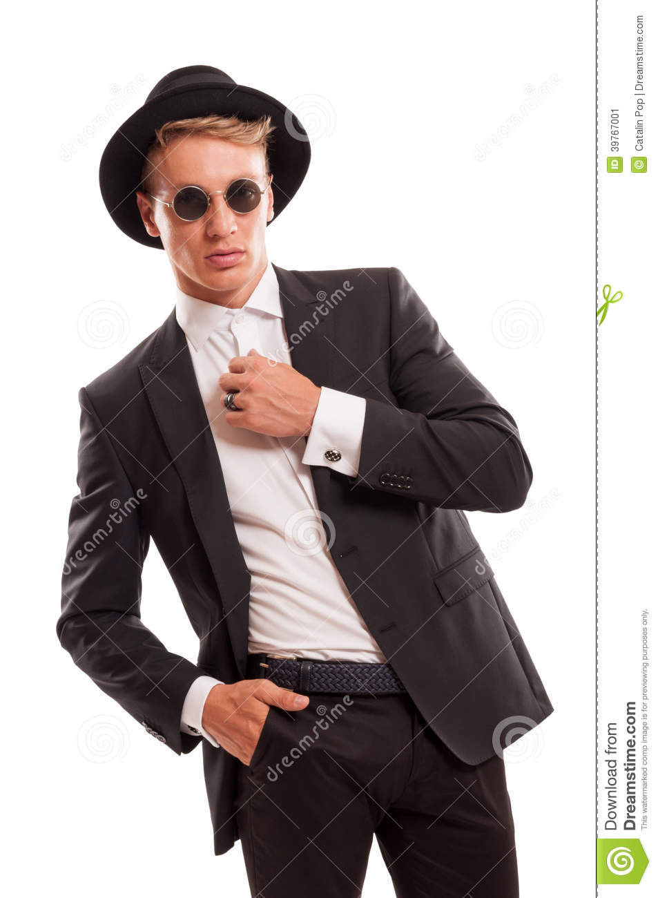 Elegant Male Model Wearing A Fancy Hat And Some Round Sun