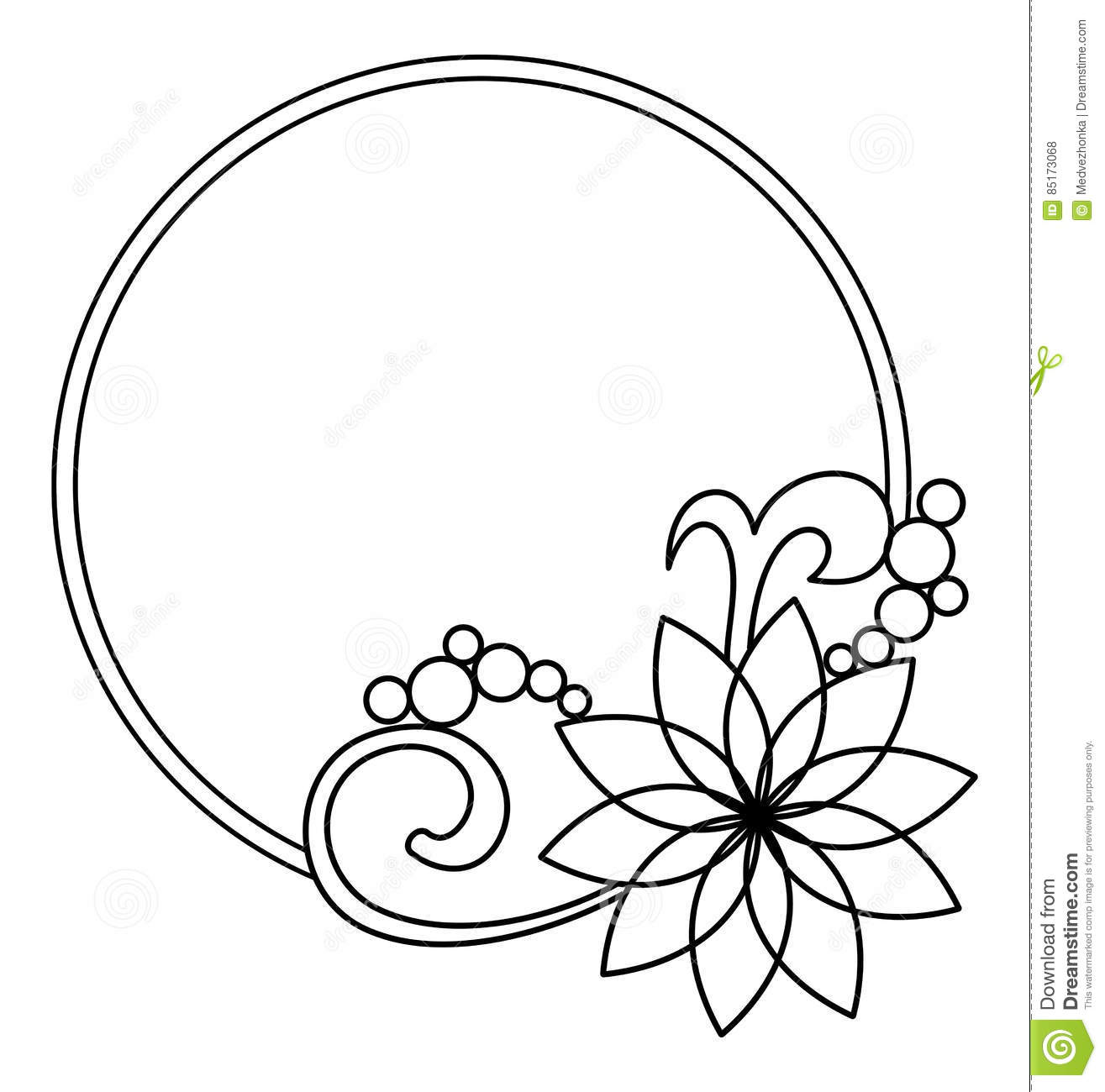 Elegant Round Frame With Contours Of Flowers Raster Clip