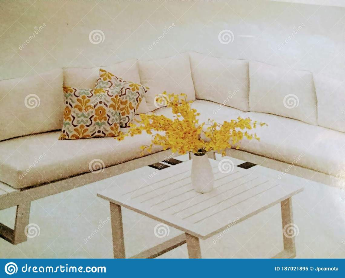 Elegant Sofa And Table For Living Room In White Color Decorated With Cushions And Yellow Flowers Stock Image Image Of Yellow Textile 187021895