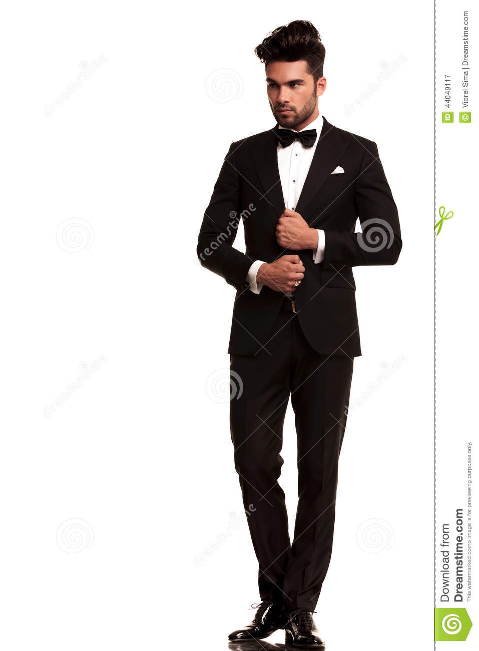 Elegant Young Fashion Man Adjusting His Tuxedo Stock Image