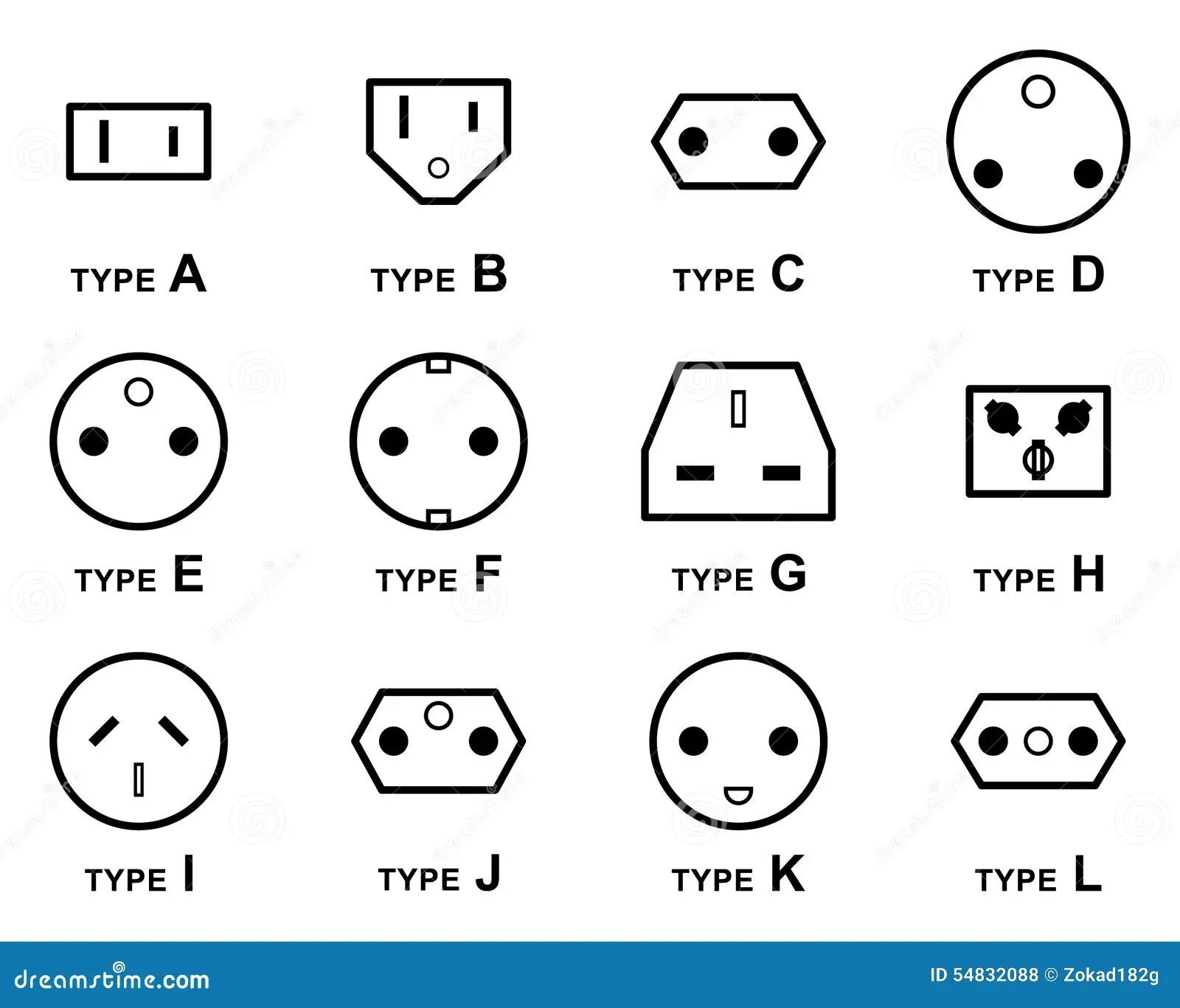 Elektrische Stecker Arten Vektor Abbildung Illustration
