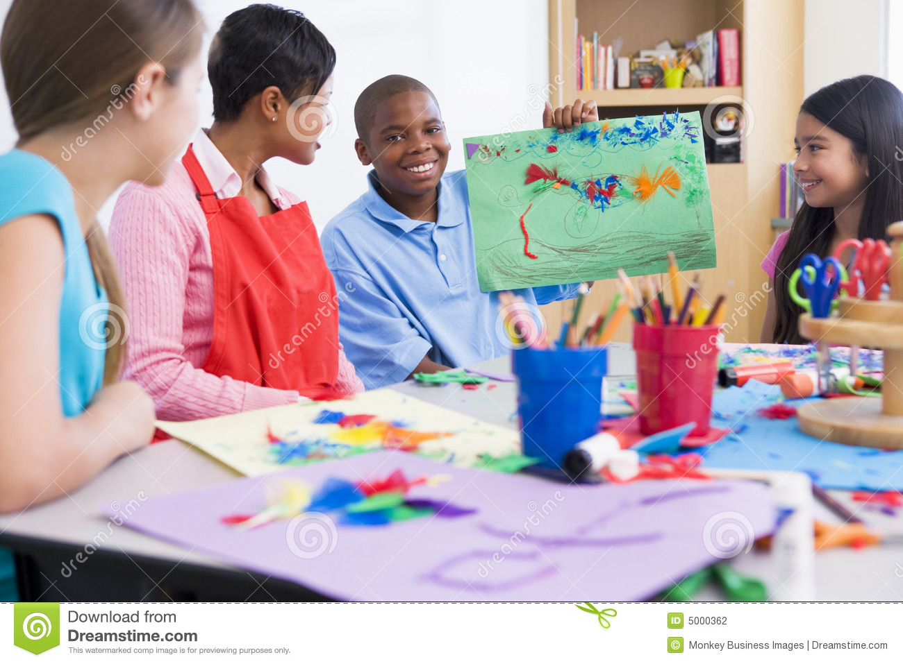 Elementary School Art Class Stock Photography