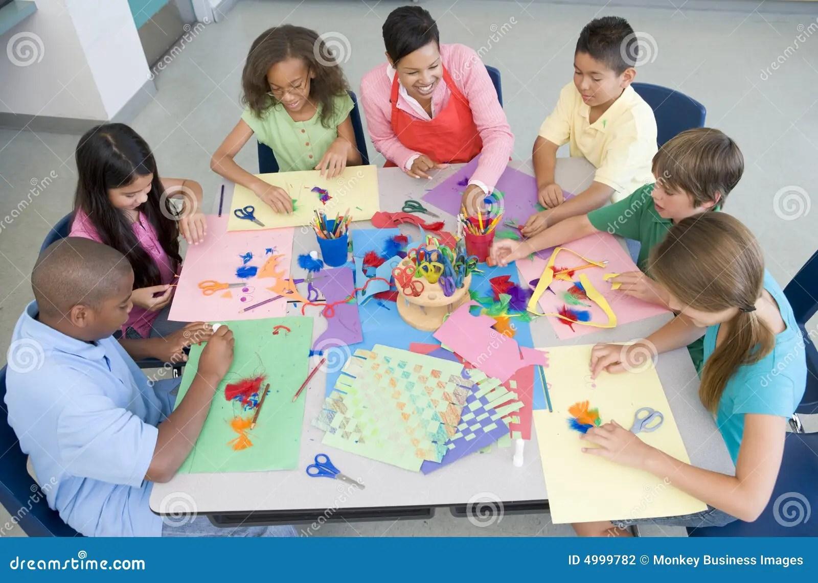 Elementary School Art Lesson Stock Photography