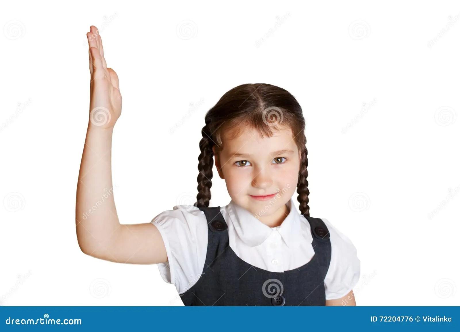 Elementary School Child Raising Her Hand Up Stock Photo
