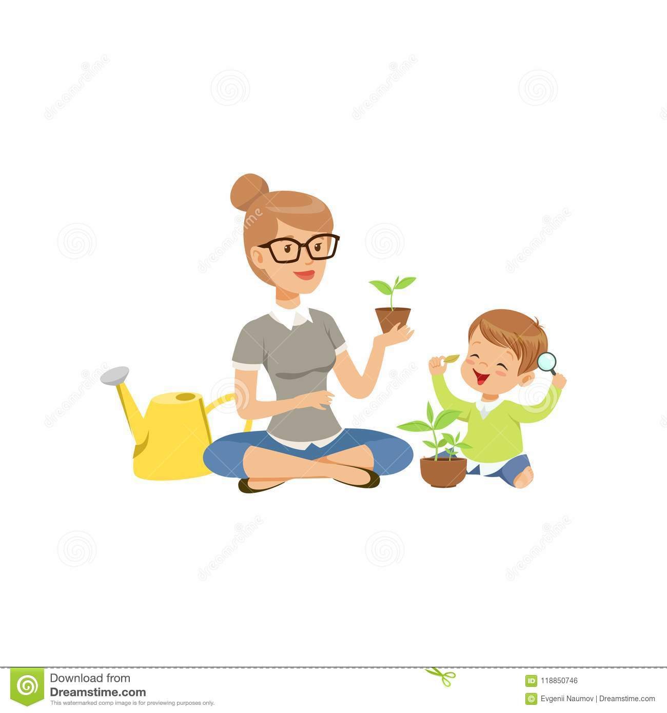Elementary Teacher Telling Little Boy About Plants During