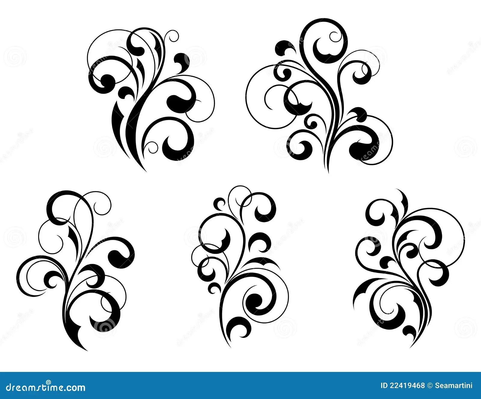 Elementi E Motivi Floreali Illustrazione Vettoriale
