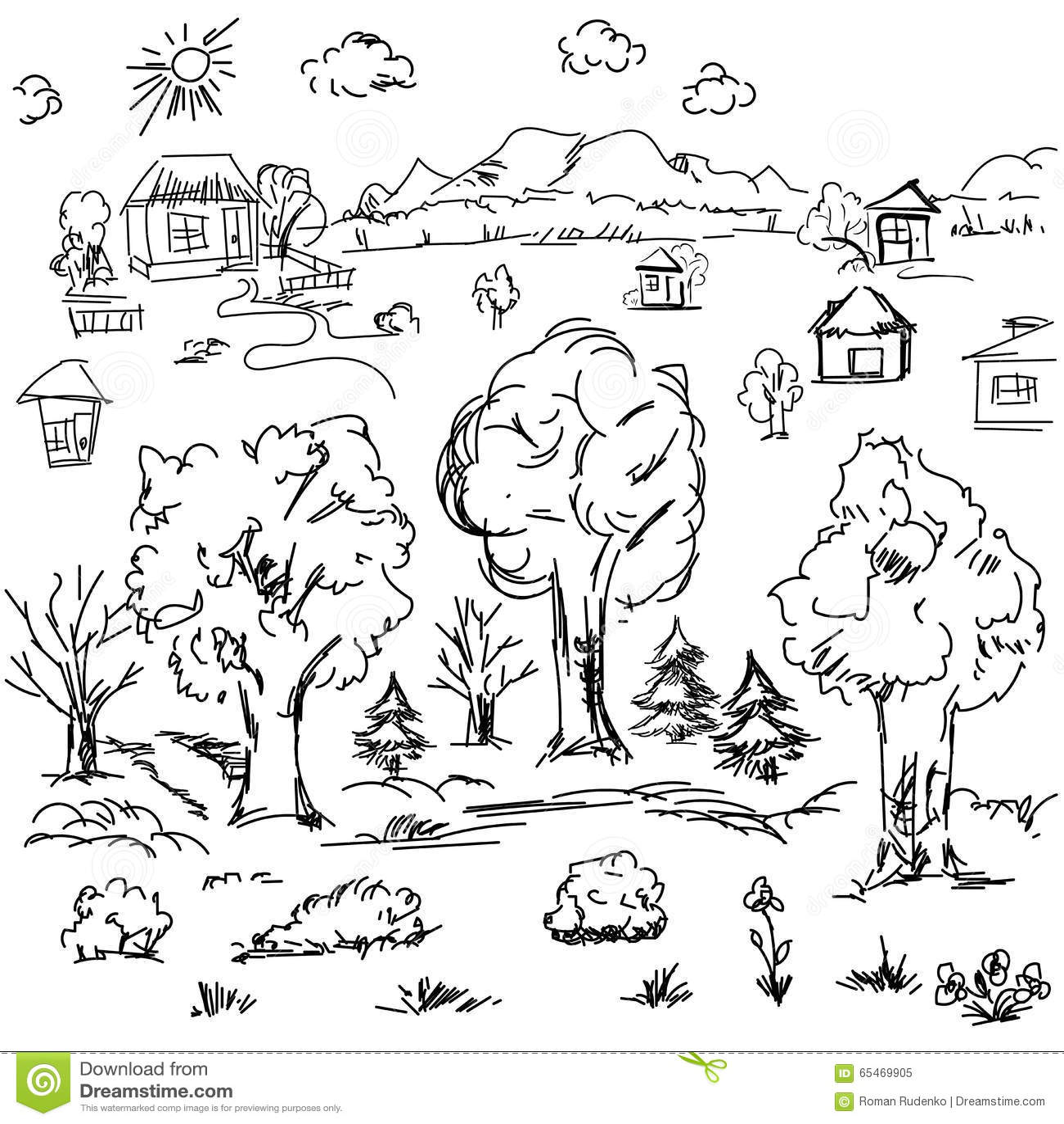 Tree Landscape Sketch Stock Photography