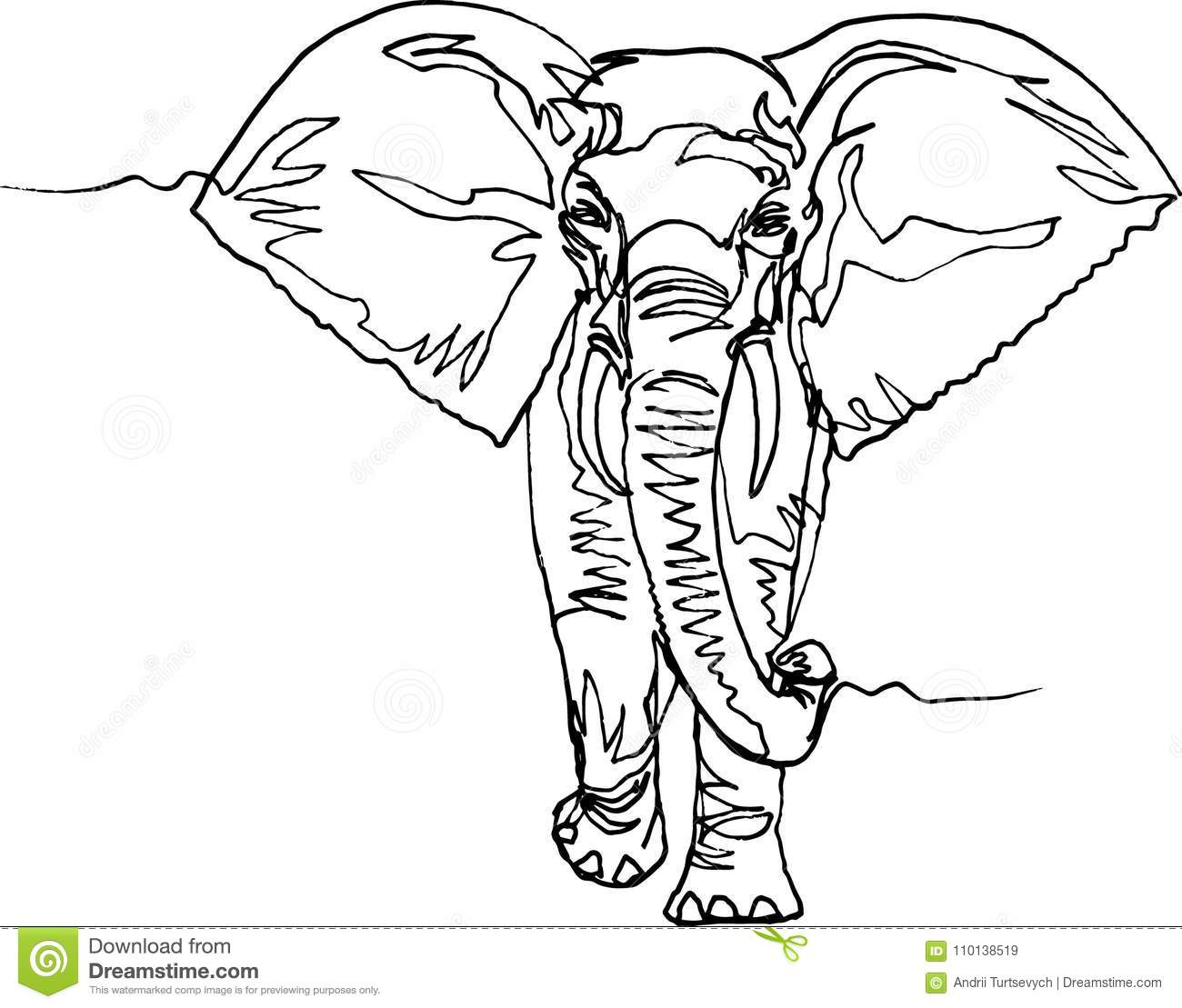 Elephant Africa Continuous Line Stock Vector