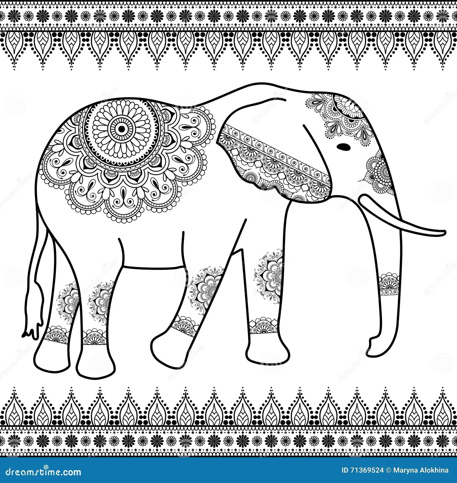 Elephant With Border Elements In Ethnic Mehndi Indian