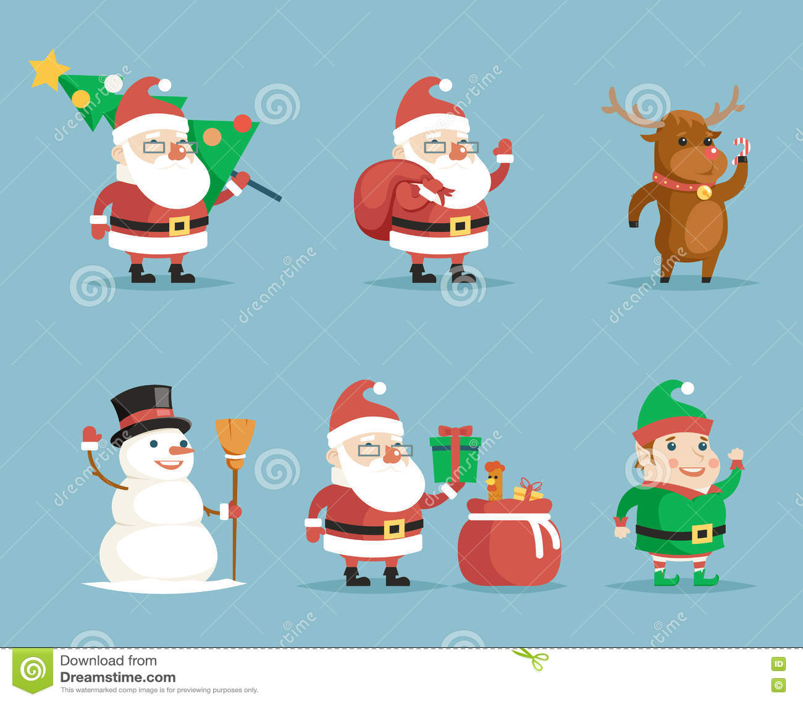 Elf Deer Snowman Santa Claus Cartoon Characters Christmas