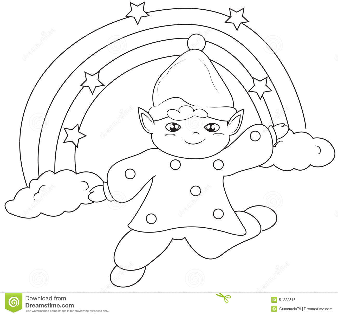 Elf Under The Rainbow Coloring Page Stock Illustration