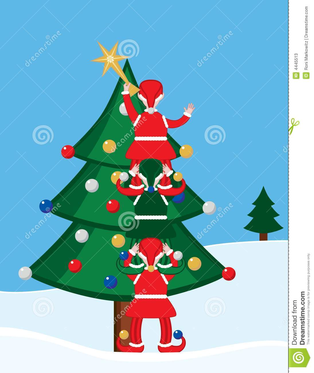 Elves And Christmas Tree Stock Photos Image 4445513
