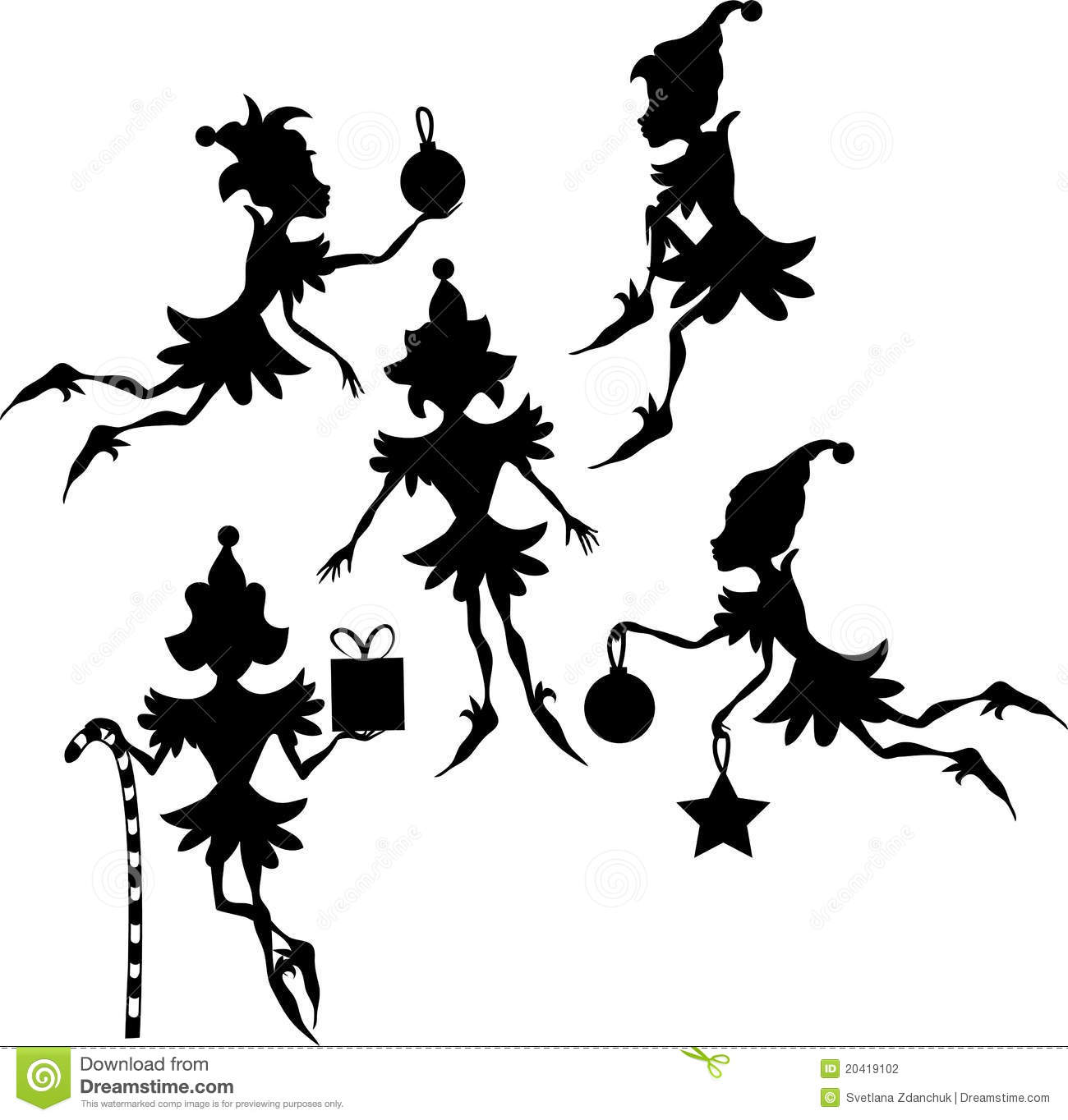 Elves Silhouettes Stock Photography