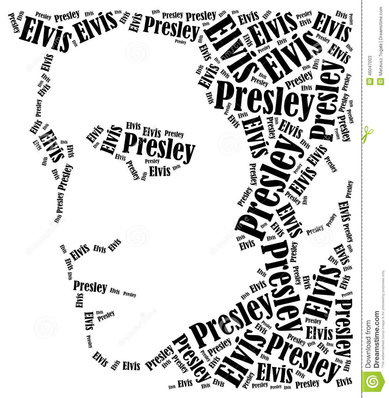 Elvis Presley Portrait Word Cloud Illustration Editorial