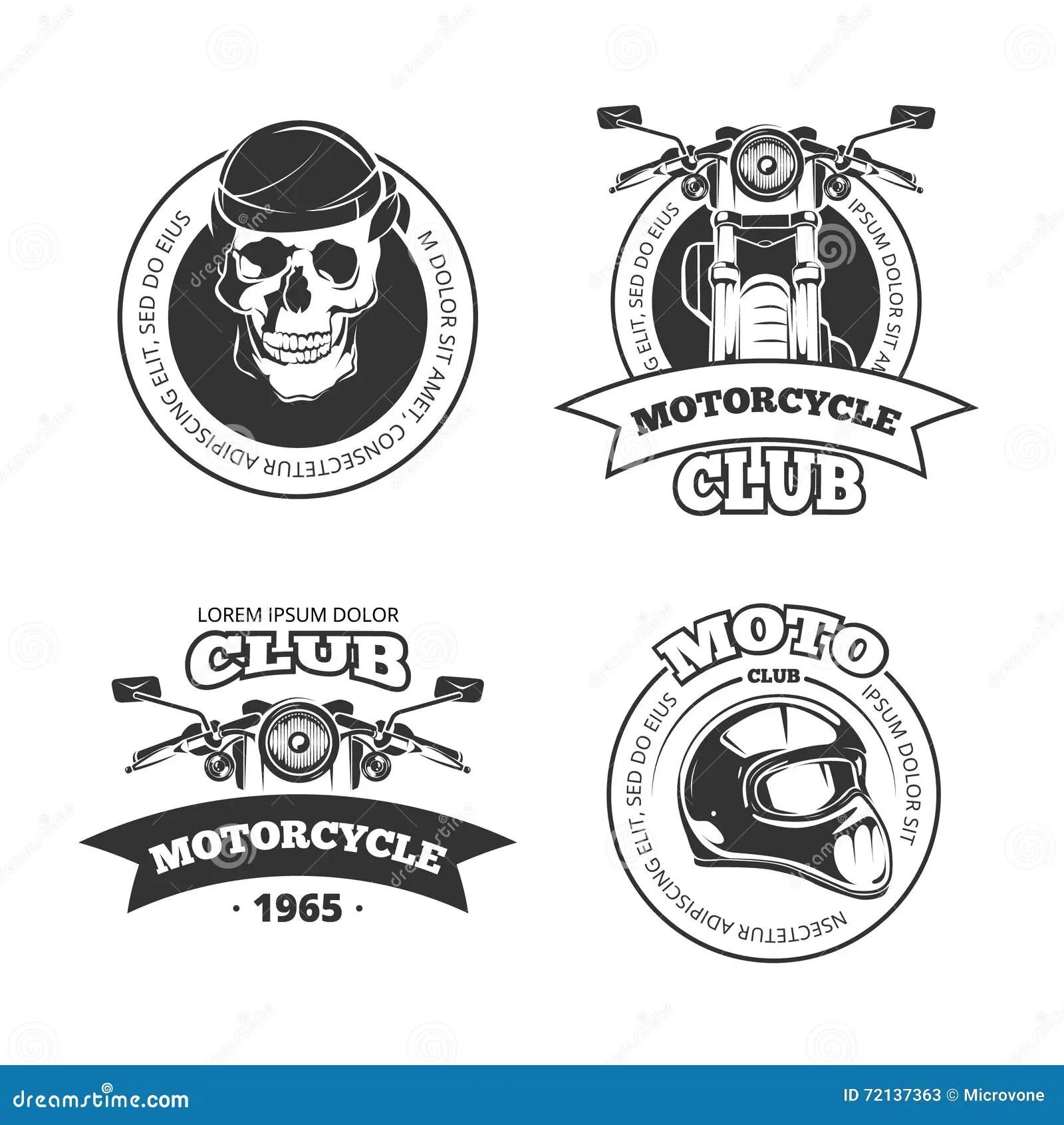 Emblemes De Club De Moto Ou De Motocyclette De Vecteur De