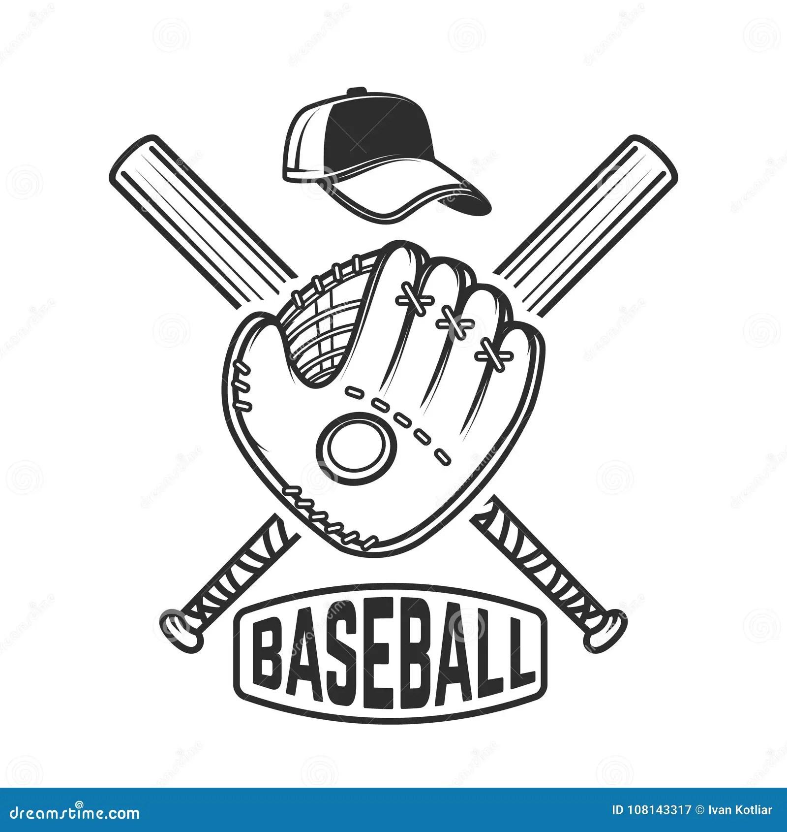 Emblem With Crossed Baseball Bat And Baseball Glove Design Element For Logo Label Emblem