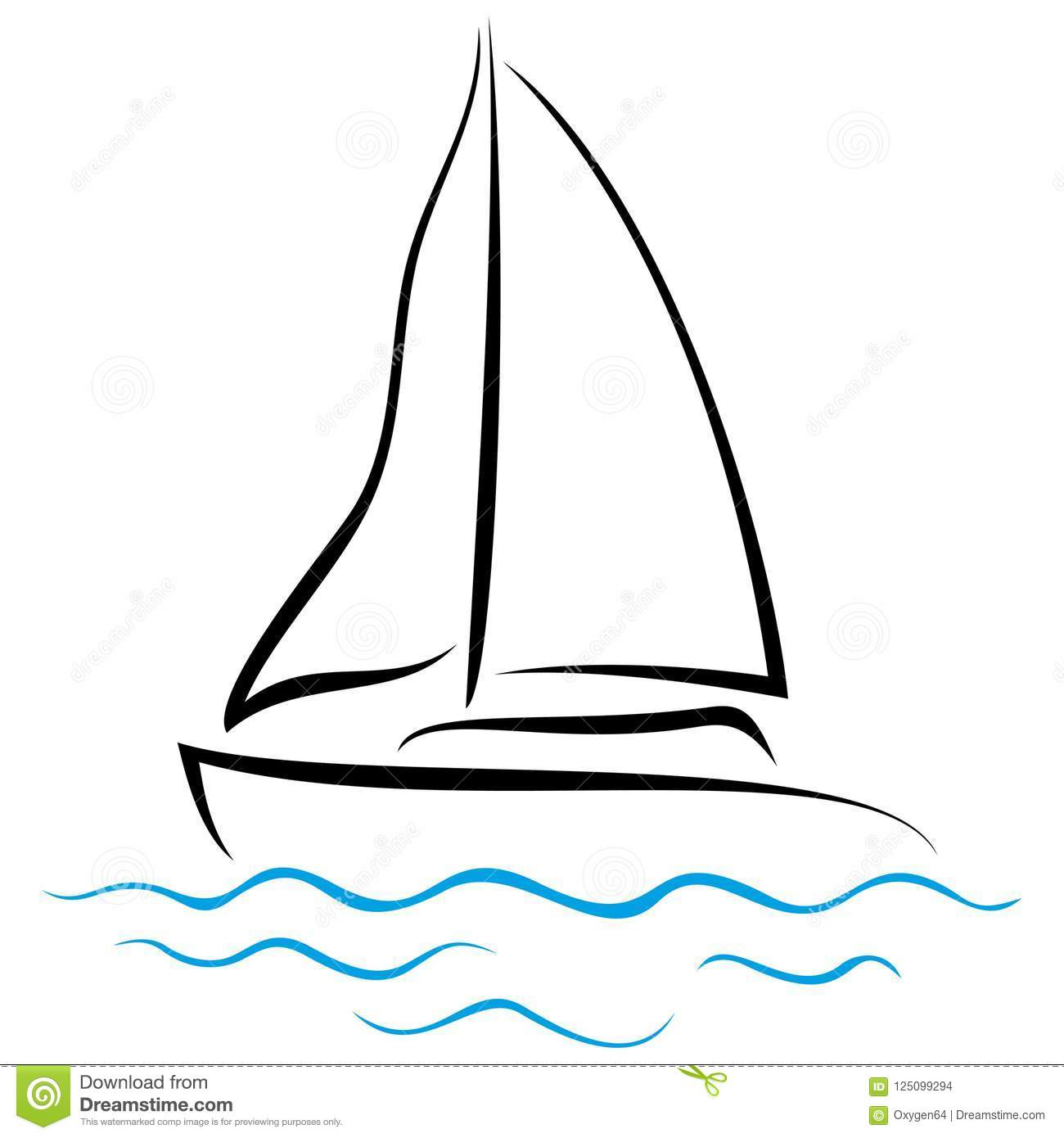 Emblem Of Yacht On Drawing Stock Vector Illustration Of
