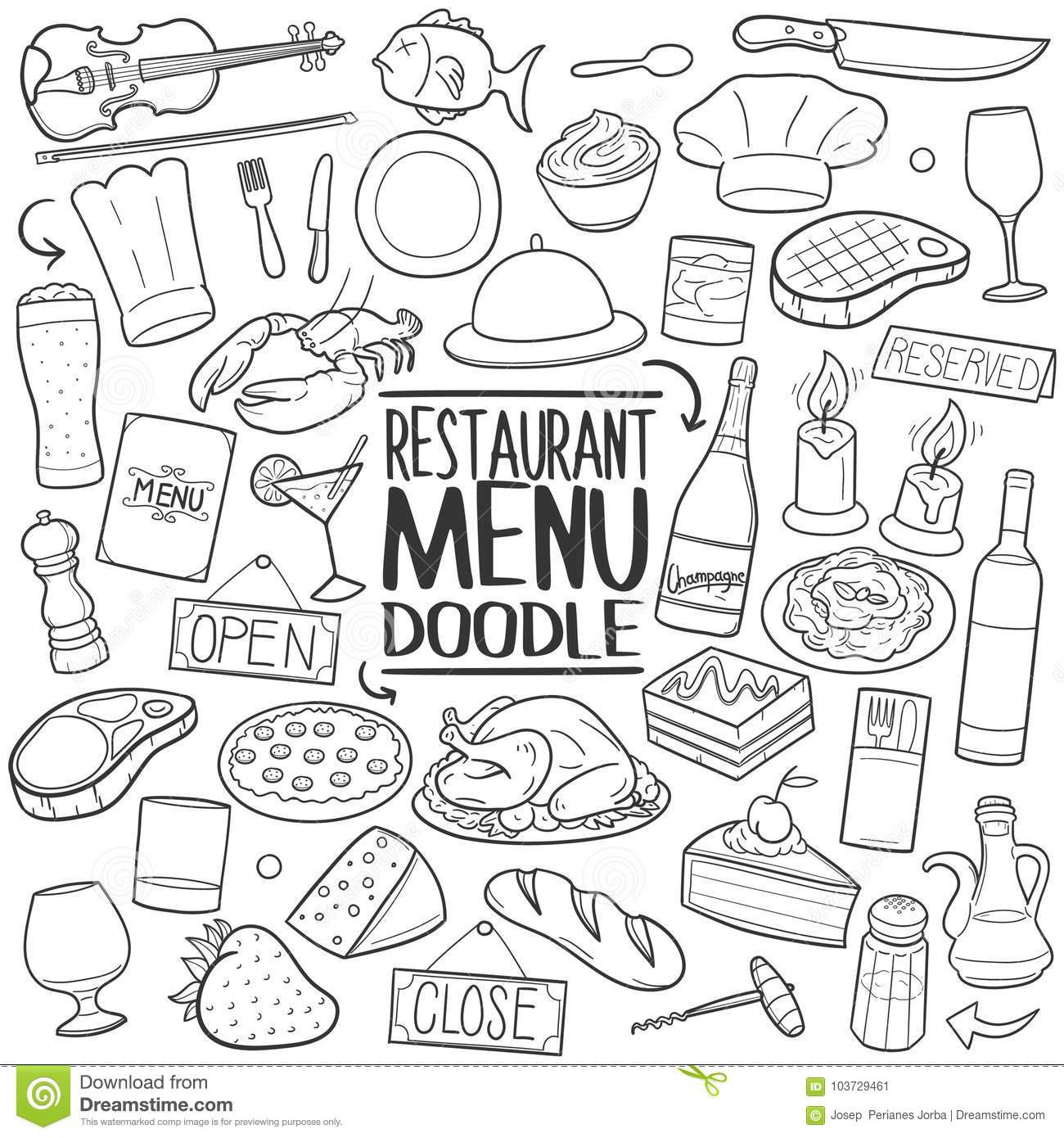 Restaurant Menu Food Traditional Doodle Icon Hand Draw Set