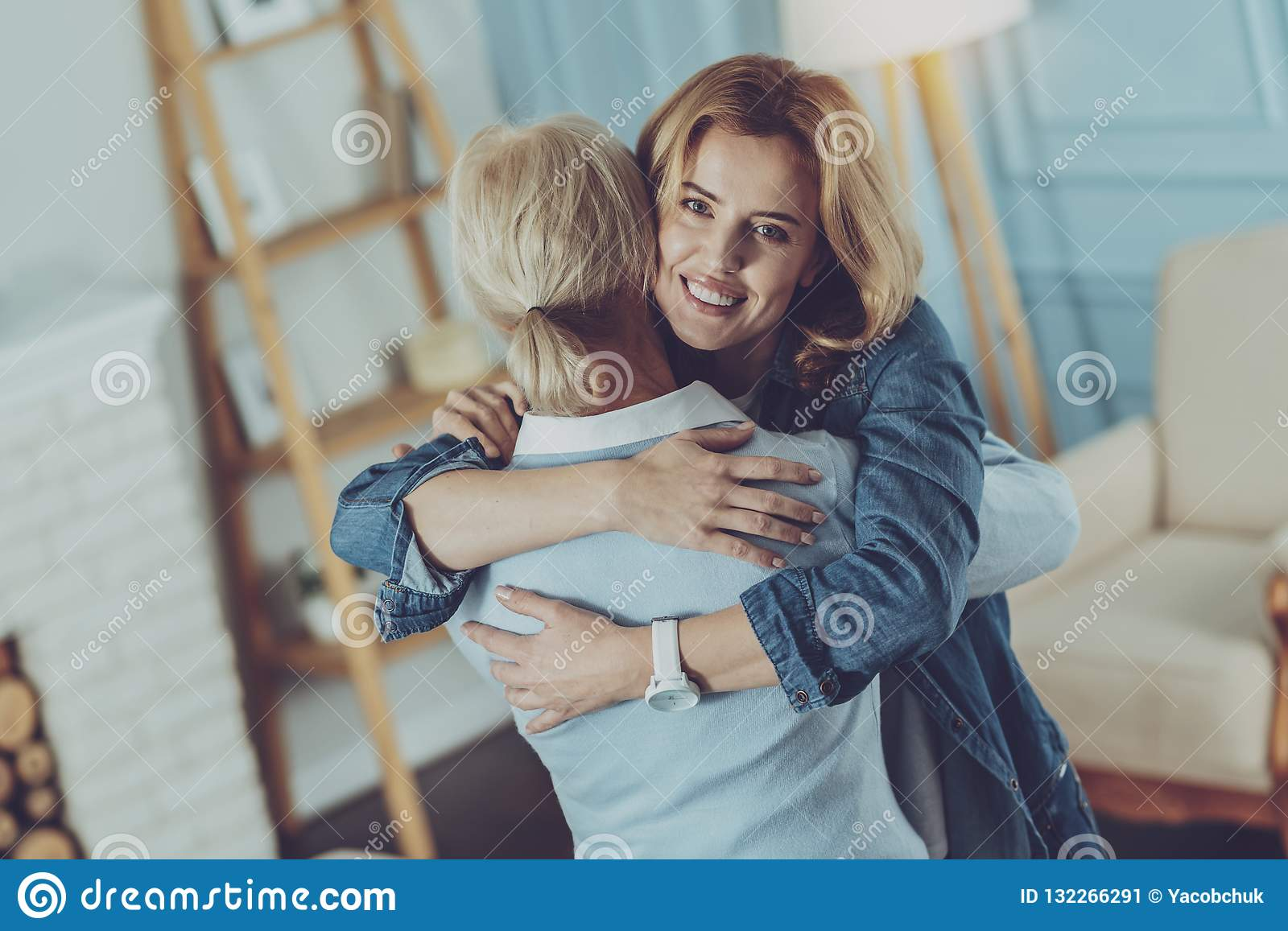 Embraces Of Loving Mother And Daughter Stock Image