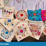 Embroidered Pillow Covers Stock Image Image Of Piles 156107675