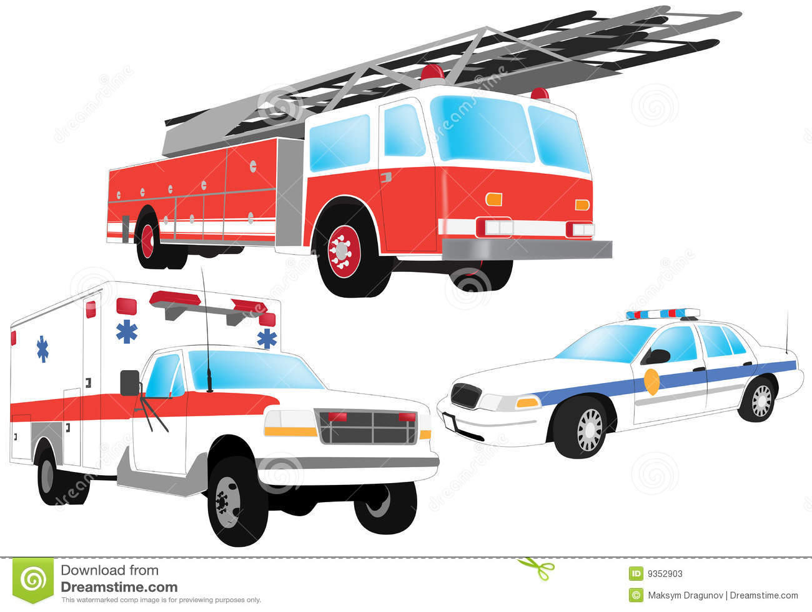 Emergency Vehicles Stock Vector Illustration Of Officer
