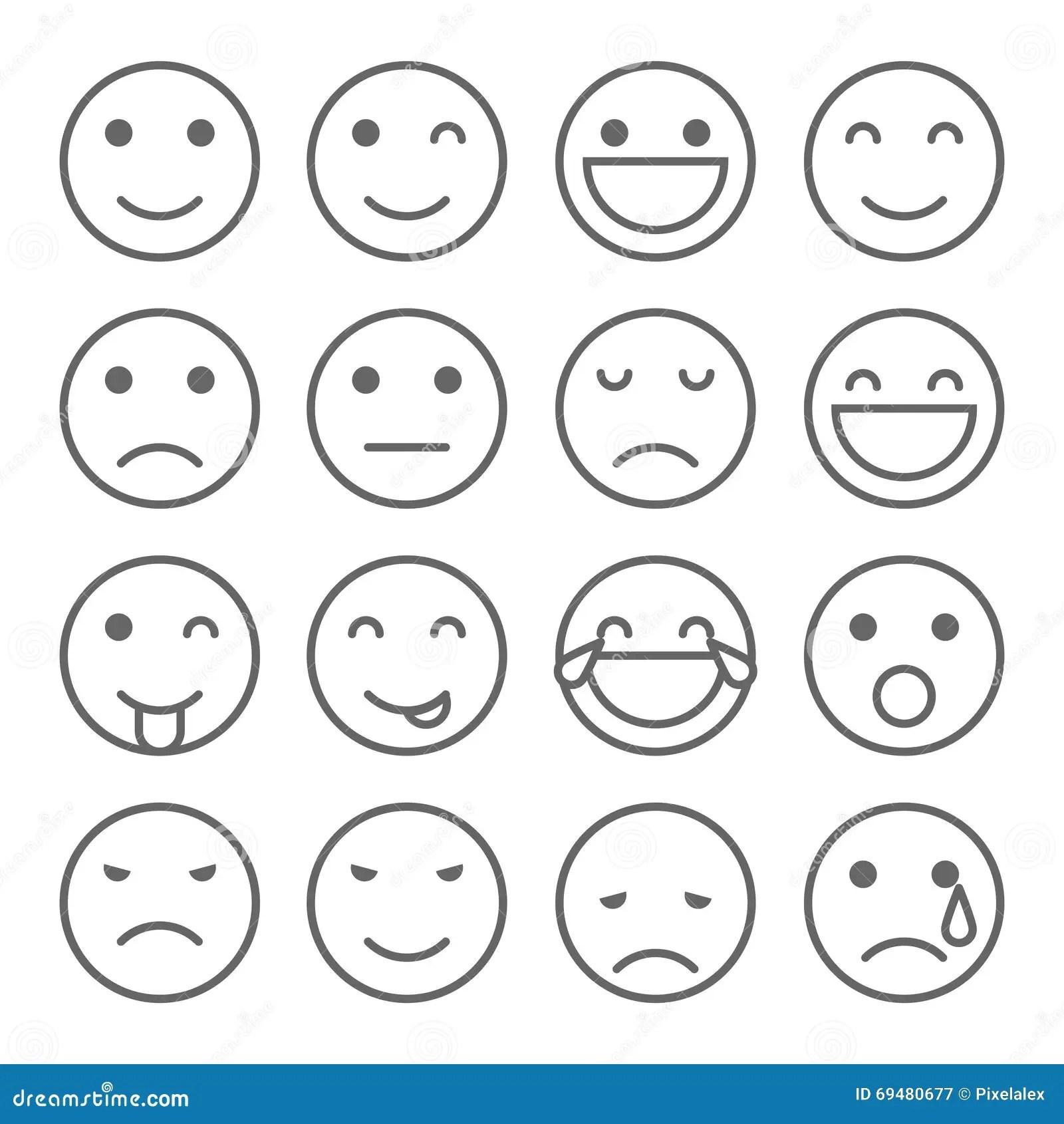 Emoji Faces Simple Icons Stock Illustration