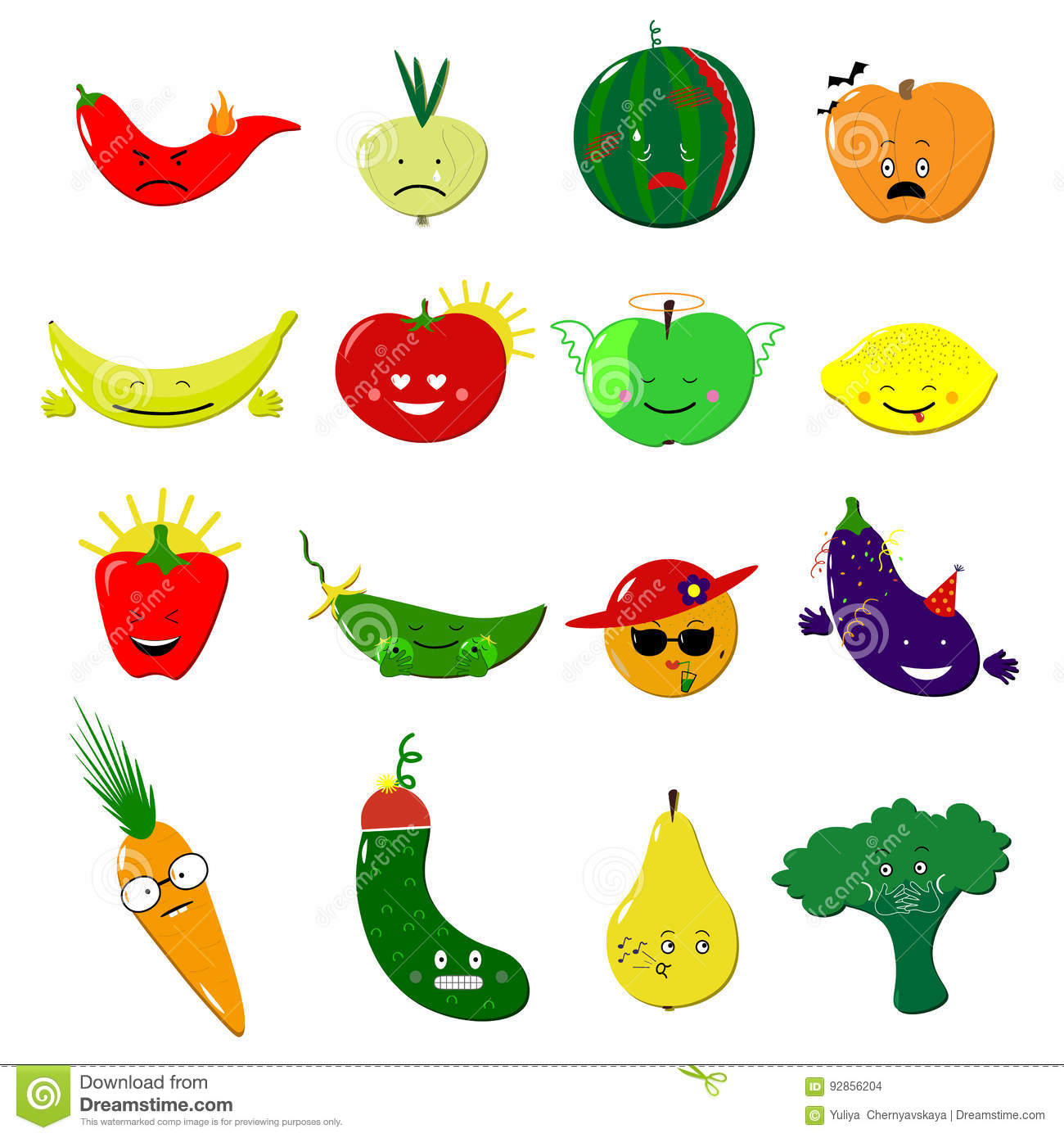 Emoticons Food Vector Set Cute Funny Stickers Emoji Fruits And Vegetables Flat Cartoon Style