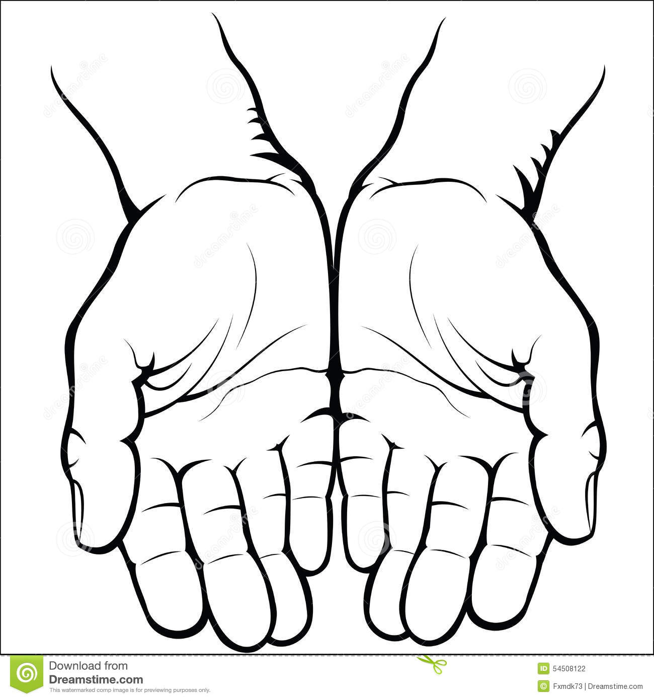 Empty Open Palms Stock Vector Image Of Palm Sketch
